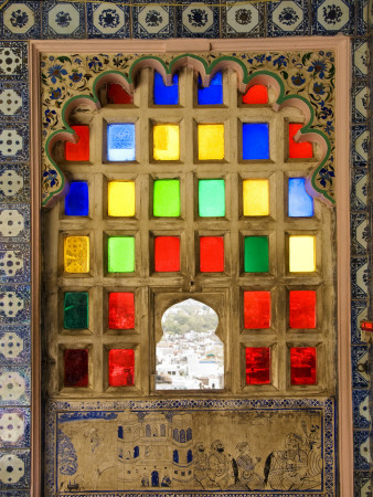 Coloured Window Detail in City Palace Stretched Canvas Print