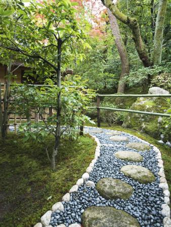 Stone Paved Walkway, Arishiyama District Stretched Canvas Print