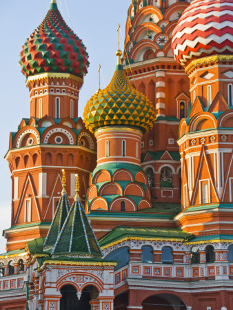 Walls and Domes of St Basils Cathedral (Pokrovsky Cathedral) in Red Square Stretched Canvas Print