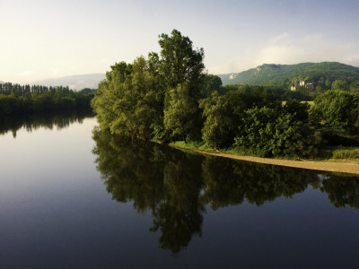 Still Waters of the Dordogne River in Early Morning, from Beynac Village Stretched Canvas Print