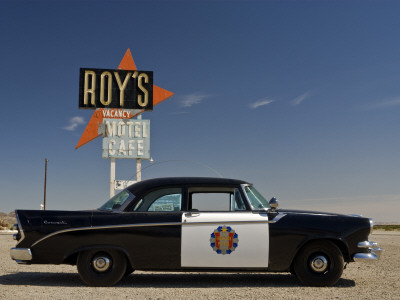 1956 Dodge Coronet Police Cruiser at Roys Motel and Cafe in Amboy Stretched Canvas Print