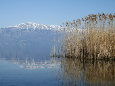 Lake Ohrid Shore with Macedonian Mountains in Background Stretched Canvas Print