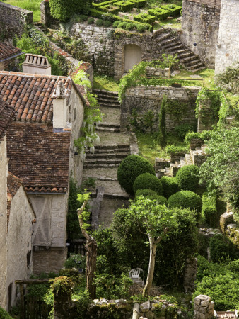 Tiny Gardens and Roof Terraces in St Cirq Lapopie Stretched Canvas Print