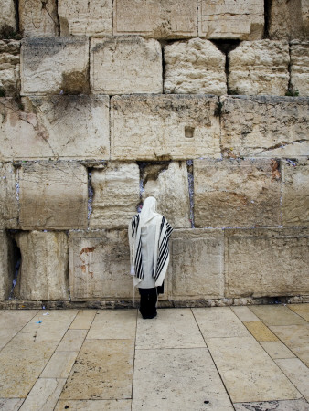 Man Wearing Prayer Shawl (Tallith) Praying at Western Wall Stretched Canvas Print