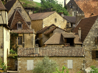 Village Houses and Roofs of Castelnaud Village Stretched Canvas Print