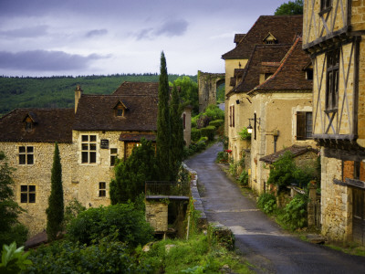 Old Pilgrims' Road Leading Through the Rocamadour Arch Just Visible in the Background Stretched Canvas Print