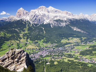Mountain-Top View of Cortina D'Ampezzo and Peak of Tofana Stretched Canvas Print