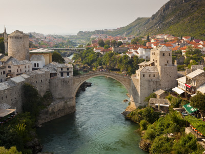 Stari Most or Old Bridge over Neretva River Stretched Canvas Print