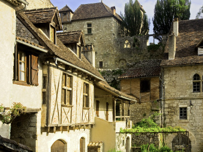 Stone and Half-Timbered Old Houses Stretched Canvas Print