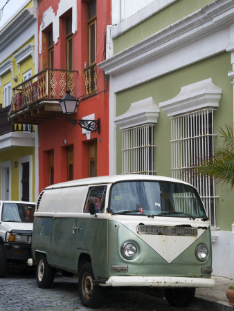 Old Volkswagen Combi Outside Colourful Colonial Houses in Old San Juan Stretched Canvas Print