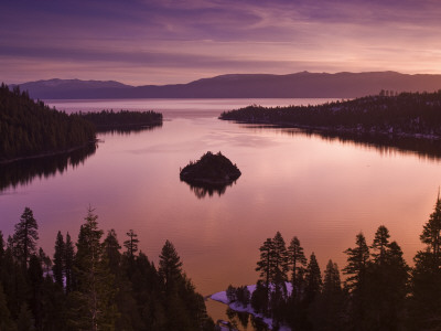 Winter Sunrise at Emerald Bay, Lake Tahoe Stretched Canvas Print