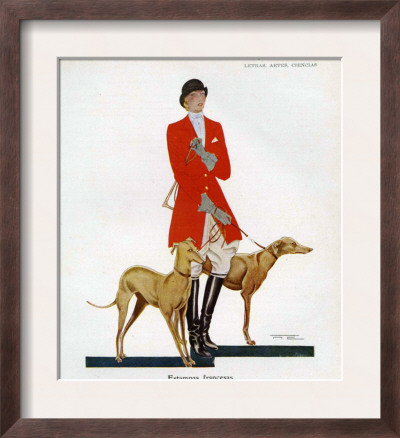 Style  Print Magazine on Hunting Outfit With Hounds  Magazine Plate  Spain  1929 Framed Print