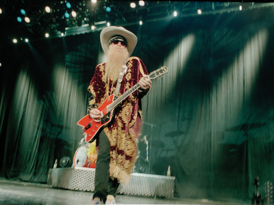 Billy F. Gibbons Live Performance Playing a Custom Gretsch Stretched Canvas Print