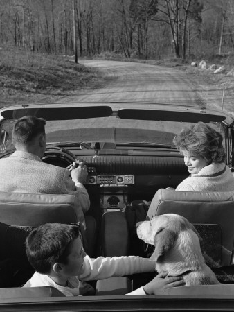 Family Driving in Convertible Along Country Road Stretched Canvas Print
