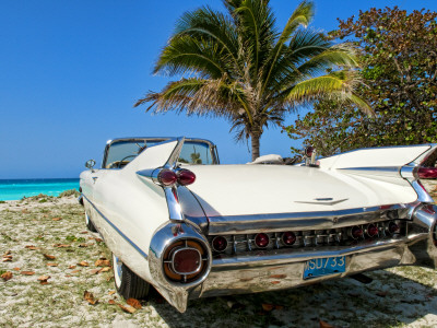 Classic 1959 White Cadillac Auto on Beautiful Beach of Veradara, Cuba Stretched Canvas Print