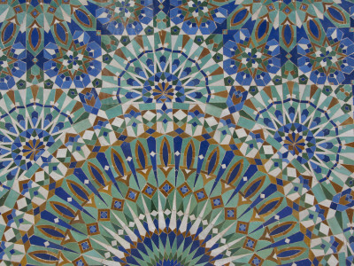 Close-Up of Mosaics in Hassan Ii Mosque, Casablanca, Morocco Stretched Canvas Print