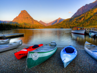 Two Medicine Lake and Sinopah Mountain, Glacier National Park, Montana, USA Stretched Canvas Print
