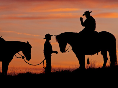 Cowboy and Cowgirl Silhouetted on a Ridge in the Big Horn Mountains, Wyoming, USA Stretched Canvas Print