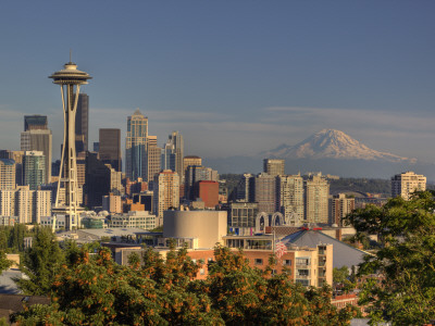 Skyline From Kerry Park, Seattle, Washington, USA Stretched Canvas Print