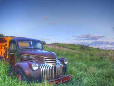 Old Chevy Truck in the Little Missouri National Grasslands, North Dakota, USA Stretched Canvas Print