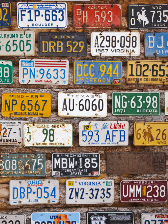 Hole in the Rock Tourist Shop With Old License Plates, Moab, Utah, USA Stretched Canvas Print