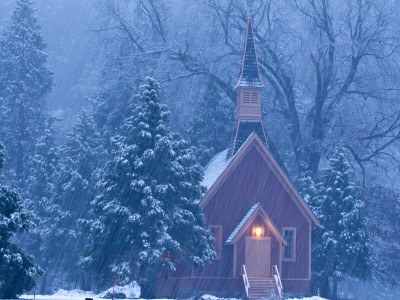 Historic Yosemite Valley Chapel During Heavy Snowfall in Yosemite National Park, California, USA Stretched Canvas Print