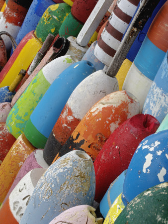 Colorful Buoys, Rockport, Cape Ann, Massachusetts, USA Stretched Canvas Print