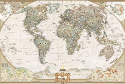 World Political Map, Executive Style Stretched Canvas Print