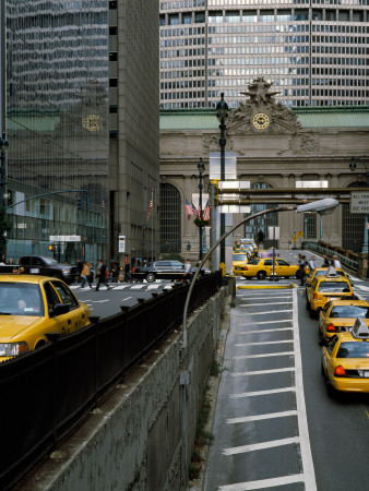 Yellow Taxis on Road Viewed From Park Avenue Tunnel, Grand Central Terminal, Manhattan, New York Stretched Canvas Print