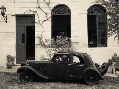 Vintage Car Parked in Front of a House, Calle De Portugal, Colonia Del Sacramento, Uruguay Stretched Canvas Print
