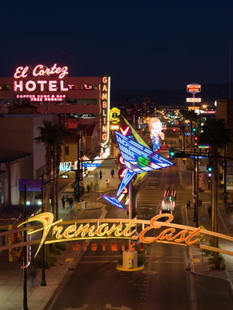 Neon Casino Signs Lit Up at Dusk, El Cortez, Fremont Street, the Strip, Las Vegas, Nevada, USA Stretched Canvas Print