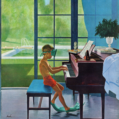 """Poolside Piano Practice,"" June 11, 1960 Stretched Canvas Print"