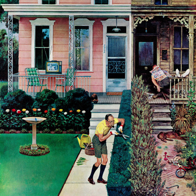 """""""Tidy and Sloppy Neighbors,"""" July 1, 1961 Stretched Canvas Print"""