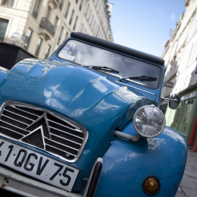 Citroen 2Cv Car in Paris, France Stretched Canvas Print