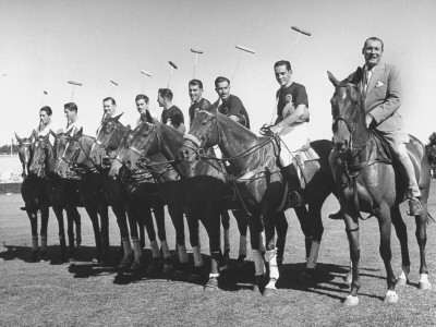 US and Mexico Polo Team Members Posing on Horseback Stretched Canvas Print