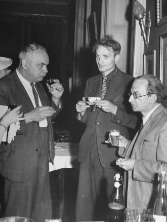 Stephen Spender and Georges Lucas Having a Drink at Geneva Peace Conference of Thought Reception Stretched Canvas Print