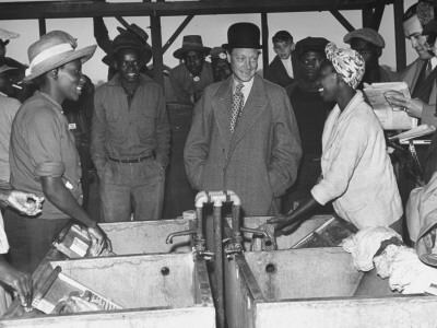 The Governor of the Bahamas Duke of Windsor Visiting with Bahamian Farm Laborers During WWII Stretched Canvas Print