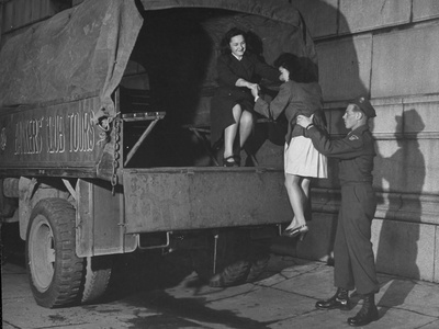 US Soldiers Can Give Japanese Girls a Ride in US Vehicles When They are on Red Cross Tours Stretched Canvas Print