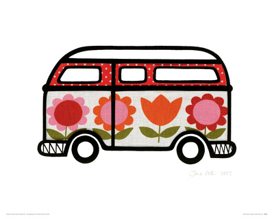 Flower Power Camper Stretched Canvas Print
