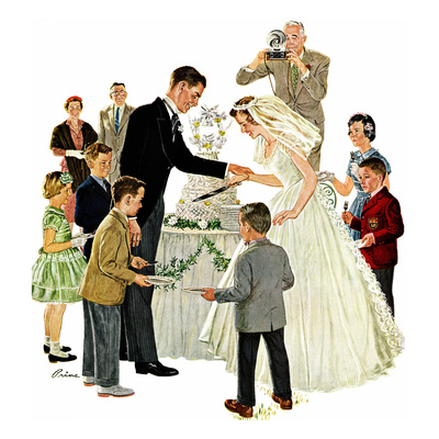 """Cutting the Cake"", May 17, 1958 Stretched Canvas Print"