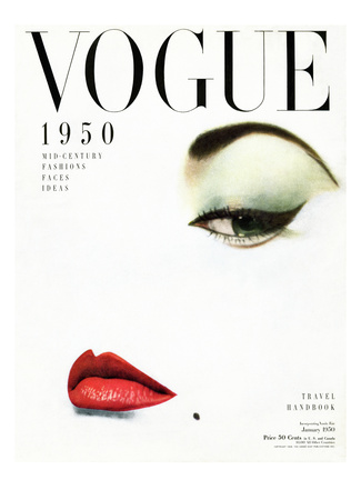 Vogue Cover - January 1950 Stretched Canvas Print