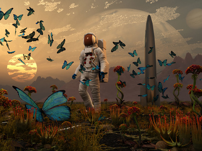 A Astronaut Is Greeted by a Swarm of Butterflies on an Alien World Stretched Canvas Print