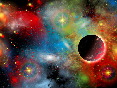 Artist's Concept Illustrating Our Beautiful Cosmic Universe Stretched Canvas Print