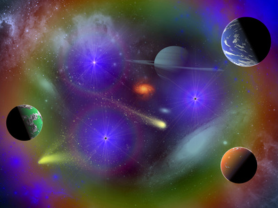 Conceptual Image of a Scene in Outer Space Stretched Canvas Print