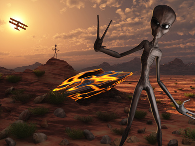 Grey Aliens at the Site of their UFO Crash Stretched Canvas Print