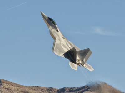 A U.S. Air Force F-22 Raptor Takes Off from Nellis Air Force Base, Nevada Stretched Canvas Print