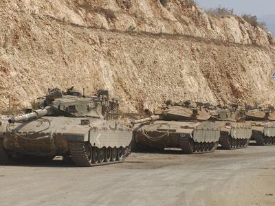Israeli Defense Force Merkava Mark IV Battle Tanks En Route to Lebanon Stretched Canvas Print