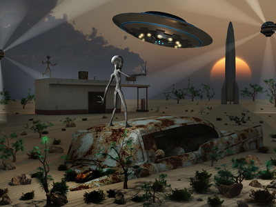 Artist's Concept of a Science Fiction Alien Landscape Stretched Canvas Print