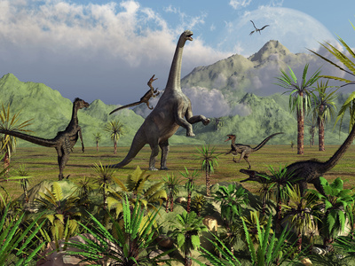 Velociraptor Dinosaurs Attack a Camarasaurus for their Next Meal Stretched Canvas Print