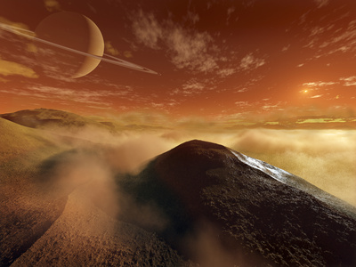 Dark Dunes are Shaped by the Moon's Winds on the Surface of Titan Stretched Canvas Print